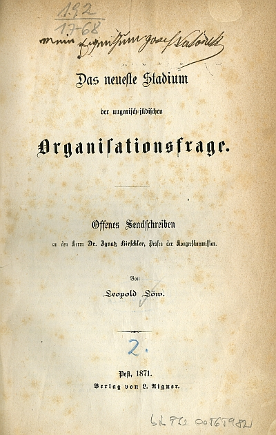 Das neueste stadium der ungarisch-jüdischen Organisationsfrage