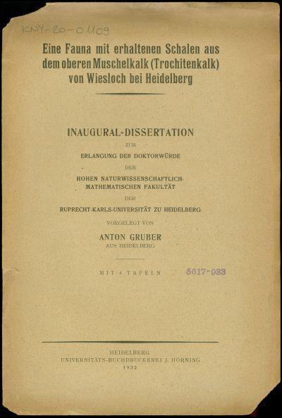 Eine Fauna mit erhaltenen Schalen aus dem oberen Muschelkalk (Trochitenkalk) von Wiesloch bei Heidelberg