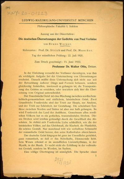 Die deutschen Übersetzungen der Gedichte von Paul Verlaine