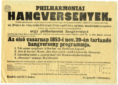 Philharmoniai hangversenyek a Nemzeti Múzeumban - program, 1853