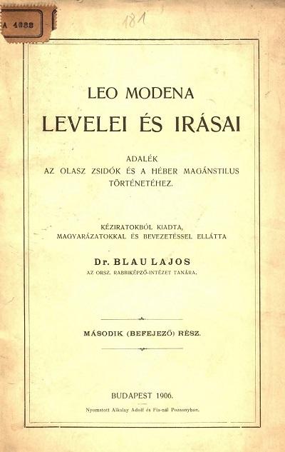 Leo Modena levelei és írásai II.