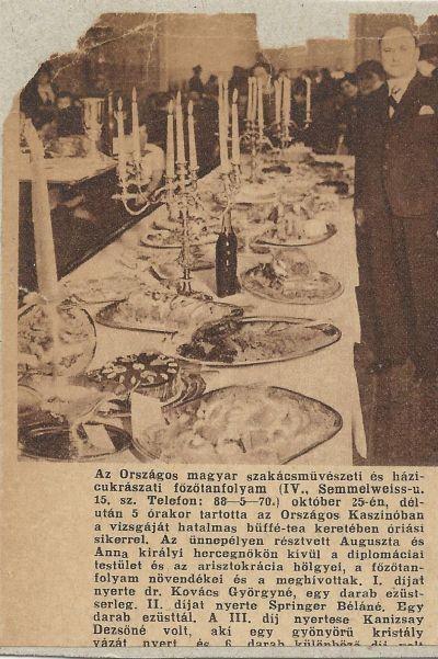 Országos magyar szakácsművészeti és cukrászati tanfolyam, terített asztal