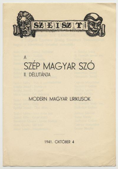 A Szegedi Egyetemi Ifjúság Színjátszó Társaságának műsorfüzete