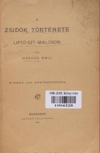 Zsidók Története Lipto-Szt-Miklóson