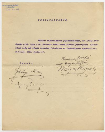 Meghatalmazás dr. Grósz Ármin ügyvédnek Hirmann Józsefnétől