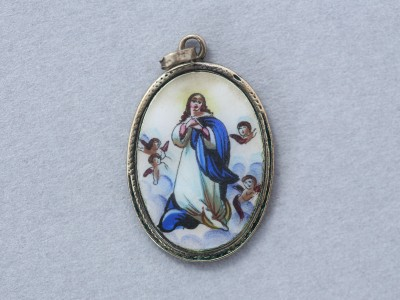 Szeplőtelen Szűz Mária tűzzománc medál