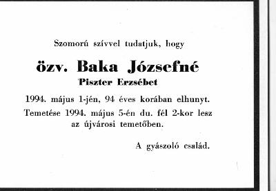 Baka Józsefné Piszter Erzsébet gyászjelentése