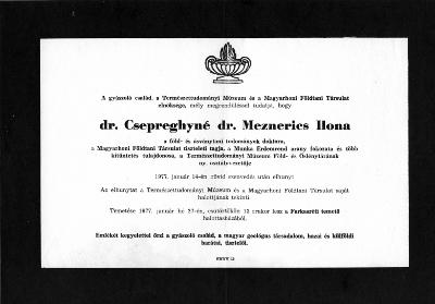 Csepreghyné Meznerics Ilona gyászjelentése