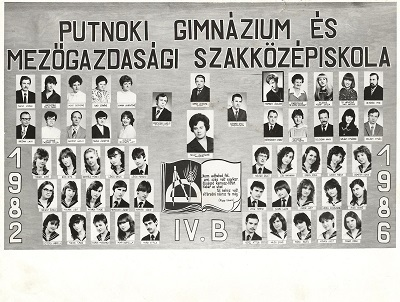 1986-ban végzett putnoki gimnazisták tablóképe