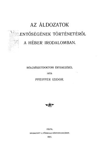 Az áldozatok jelentőségének történetéről a héber irodalomban