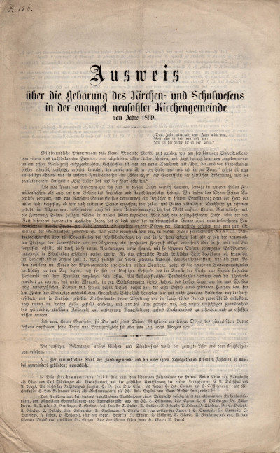 Ausweis über die Gebarung des Kirchen- und Schulwesens in der evangel. neusohler Kirchengemeinde vom Jahre 1869