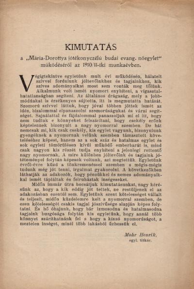 """Kimutatás a """"Mária-Dorottya jótékonyczélú budai evang. nőegylet működéséről az 1910/11-iki munkévben"""