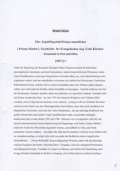 Geschichte der Evangelischen Aug. Conf. Kirchen-Gemeinde in Pest und Ofen, 1827/ A pesti és budai ágostai hitvallású evangélikus gyülekezet története, 1827