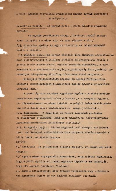 A pesti ágostai hitvallású evangélikus magyar egyház szervezeti szabályzata