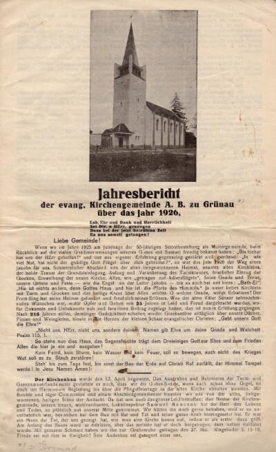 Grinád - Jahresbericht der evang. Kirchengemeinde A. B. zu Grünau über das Jahr 1926