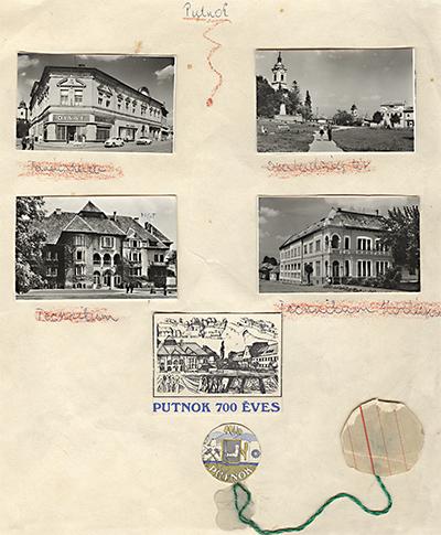 Putnok 700 éves évfordulójára képeslapokból összeállított tabló, címerrel