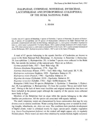 Haliplidae, Gyrinidae, Noteridae, Dystixcidae, Laccophilidae and Hydroporidae (Coleoptera) of Bükk National Park