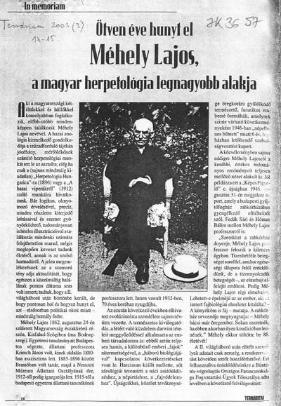 In memoriam. Ötven éve hunyt el Méhely Lajos, a magyar herpetológia legnagyobb alakja