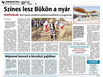 Színes lesz Bükön a nyár: Kézi kaszás aratóbemutatóval kezdődnek a programok