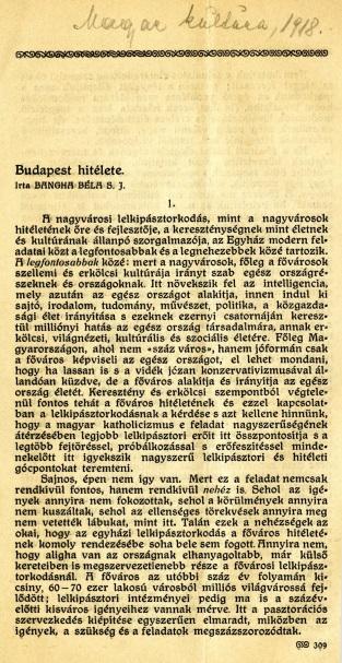 Budapest hitélete I.