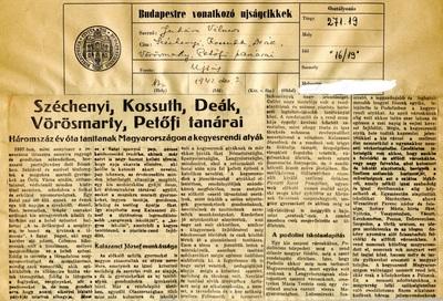 Széchenyi, Kossuth, Deák, Vörösmarty, Petőfi tanárai