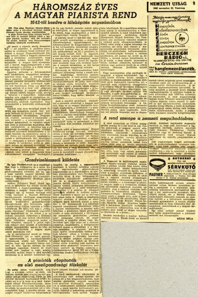 Háromszáz éves a magyar piarista rend