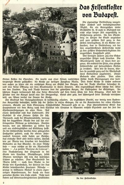 Das Felsenkloster von Budapest