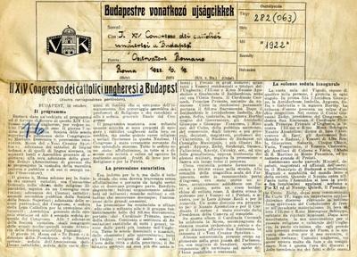 Il. XIV Congresso dei cattolici ungheresi a Budapest