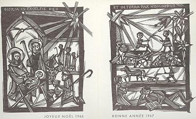 Ex-libris Gloria in Excelsis Deo Joyeux Noël 1966. Et In Terra Pax Hominibus Bonne Année 1967