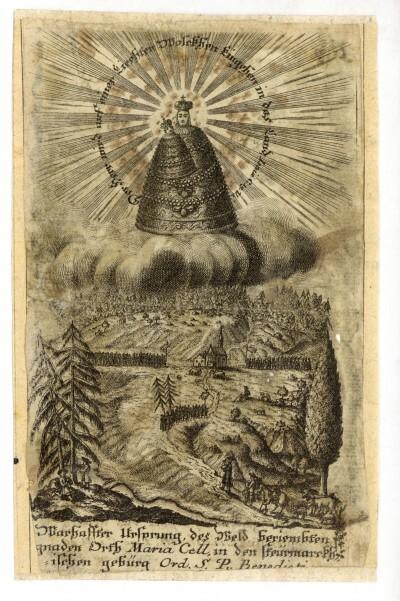 Máriacelli szentkép zarándokokkal, hátoldalán vizitáció ábrázolással