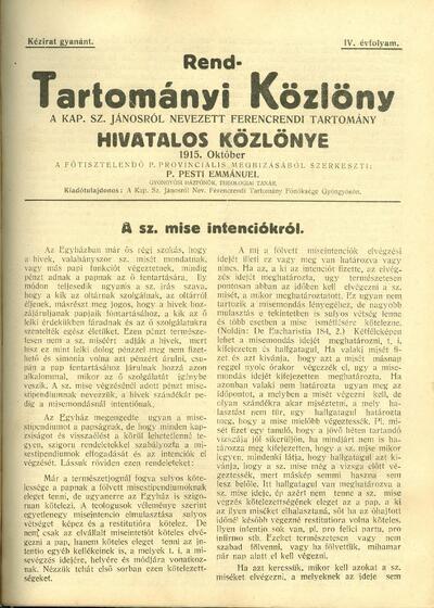 Rend-Tartományi Közlöny 1915. október