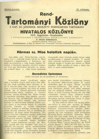 Rend-Tartományi Közlöny 1915. augusztus-szeptember