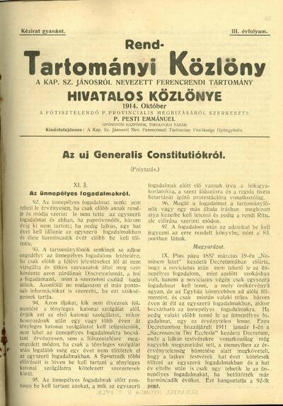 Rend-Tartományi Közlöny 1914. október