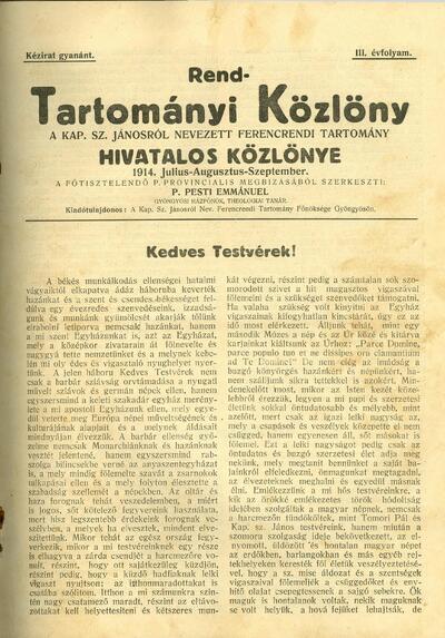 Rend-Tartományi Közlöny 1914. július-augusztus-szeptember