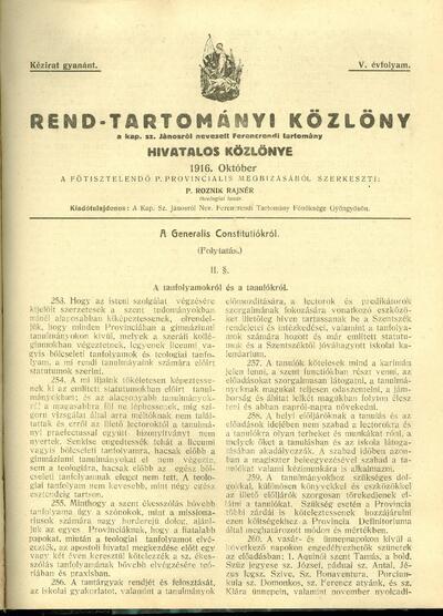 Rend-Tartományi Közlöny 1916. október