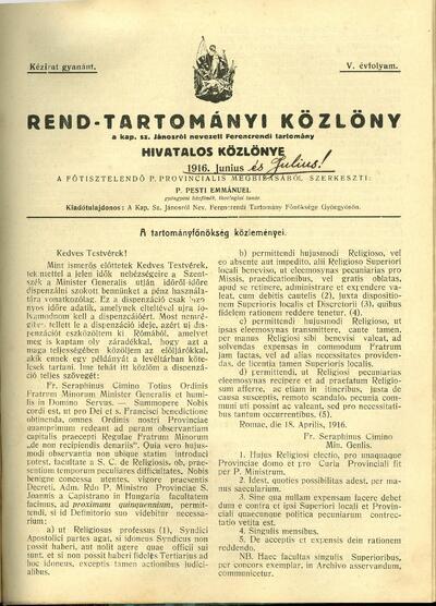 Rend-Tartományi Közlöny 1916. június-július