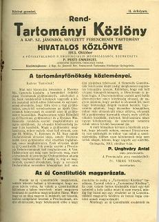 Rend-Tartományi Közlöny 1913. október