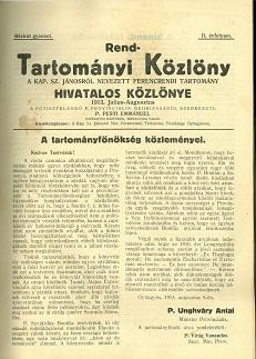 Rend-Tartományi Közlöny 1913. július-augusztus