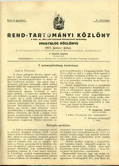 Rend-Tartományi Közlöny 1917. június-július