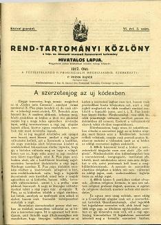 Rend-Tartományi Közlöny 1917. október