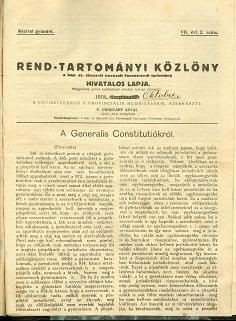 Rend-Tartományi Közlöny 1918. október