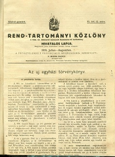 Rend-Tartományi Közlöny 1918. július-augusztus
