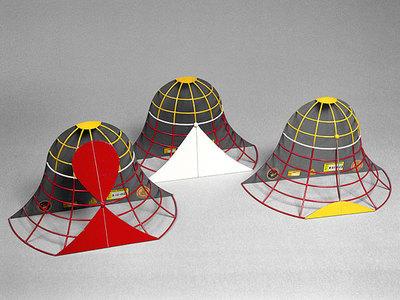 Tangentialebene in einem hyperbolischen Punkt der Glockenfläche