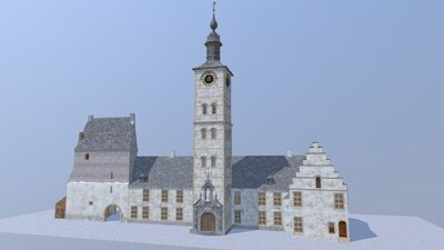 Ename abbey guest quarters and carillon tower