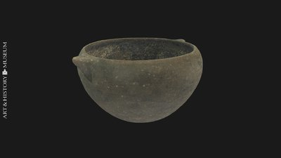 Deep bowl with receding rim and two buttons