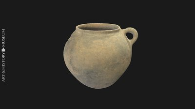Egg-shaped pot with small opening and vertical rim
