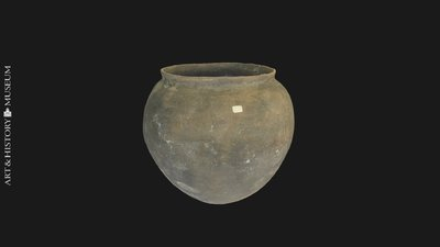 Egg-shaped pot with small opening and flaring rim