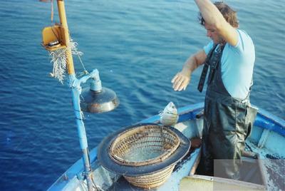 Fonds Henri-Paul Brémondy : Pêche au palangre - Panier (couffe) pour le palangre - Un sare - Photographie en lien avec le corpus sonore La pêche traditionnelle varoise dans les années 1970