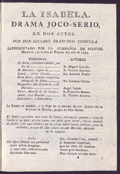 La Isabela : drama joco-serio, en dos actos / por D. Luciano Francisco Comella
