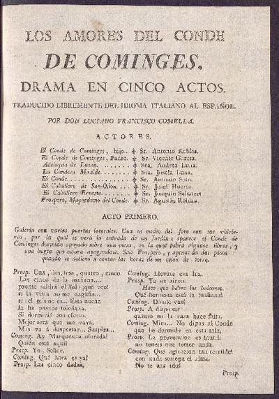 Los amores del Conde de Cominges : drama en cinco actos / traducido libremente del idioma italiano al español por D. Luciano Francisco Comella